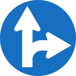 Traffic sign of Austria: Driving straight ahead or turning right mandatory