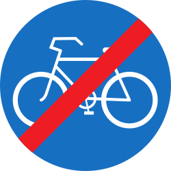 Traffic sign of Austria: End of the path for cyclists
