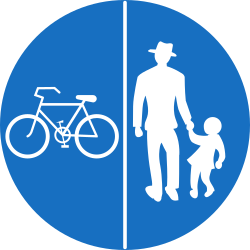 Traffic sign of Austria: Mandatory divided path for pedestrians and cyclists
