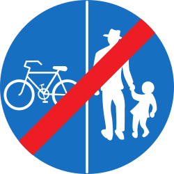 Traffic sign of Austria: End of the divided path for pedestrians and cyclists
