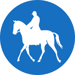 Traffic sign of Austria: Mandatory path for equestrians