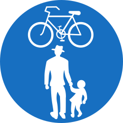 Traffic sign of Austria: Mandatory shared path for pedestrians and cyclists
