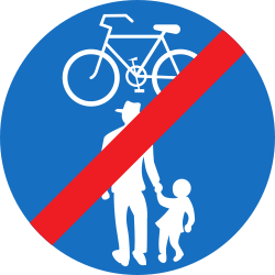 Traffic sign of Austria: End of the shared path for pedestrians and cyclists