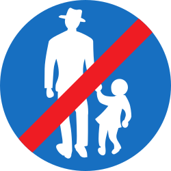 Traffic sign of Austria: End of the path for pedestrians