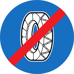 Traffic sign of Austria: Removing snow chains mandatory