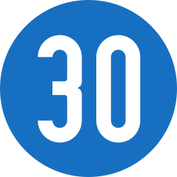 Traffic sign of Austria: Driving faster than indicated mandatory (minimum speed)