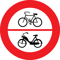 Traffic sign of Austria: Cyclists and mopeds prohibited