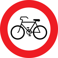 Traffic sign of Austria: Cyclists prohibited