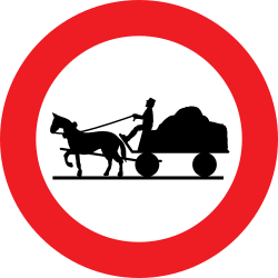 Traffic sign of Austria: Horse carts prohibited