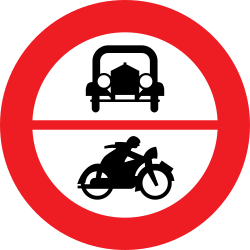 Traffic sign of Austria: Motorcycles and cars prohibited