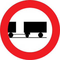 Traffic sign of Austria: Trucks with trailer prohibited