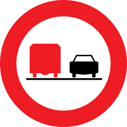 Traffic sign of Austria: Overtaking prohibited for trucks