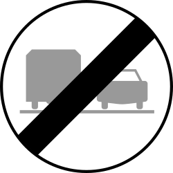 Traffic sign of Austria: End of the overtaking prohibition for trucks