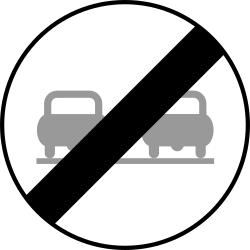 Traffic sign of Austria: End of the overtaking prohibition