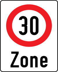 Traffic sign of Austria: Begin of a zone with speed limit