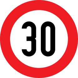 Traffic sign of Austria: Driving faster than indicated prohibited (speed limit)
