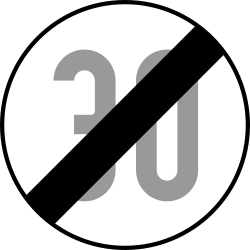 Traffic sign of Austria: End of the speed limit
