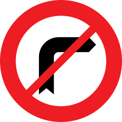 Traffic sign of Austria: Turning right prohibited