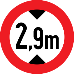 Traffic sign of Austria: Vehicles higher than indicated prohibited