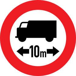 Traffic sign of Austria: Vehicles longer than indicated prohibited