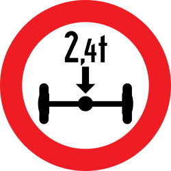 Traffic sign of Austria: Vehicles with an axle weight heavier than indicated prohibited