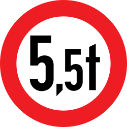 Traffic sign of Austria: Vehicles heavier than indicated prohibited