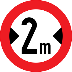 Traffic sign of Austria: Vehicles wider than indicated prohibited