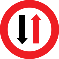 Traffic sign of Austria: Road narrowing, give way to oncoming drivers