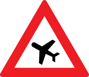 Traffic sign of Austria: Warning for low-flying aircrafts