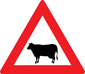 Traffic sign of Austria: Warning for cattle on the road