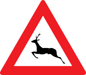 Traffic sign of Austria: Warning for crossing deer