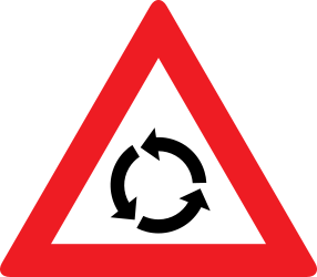 Traffic sign of Austria: Warning for a roundabout