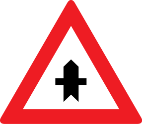 Traffic sign of Austria: Warning for a crossroad side roads on the left and right