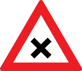 Traffic sign of Austria: Warning for an uncontrolled crossroad