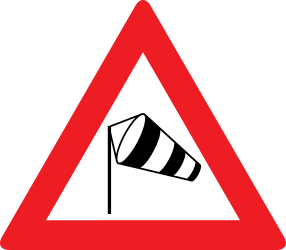 Traffic sign of Austria: Warning for heavy crosswind