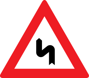 Traffic sign of Austria: Warning for a double curve, first left then right