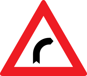 Traffic sign of Austria: Warning for a curve to the right