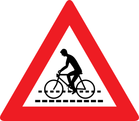 Traffic sign of Austria: Warning for a crossing for cyclists