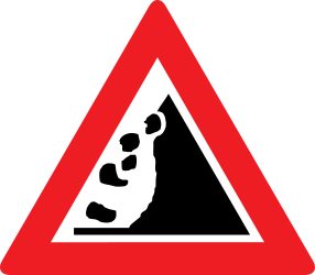 Traffic sign of Austria: Warning for falling rocks