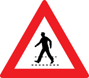 Traffic sign of Austria: Warning for a crossing for pedestrians