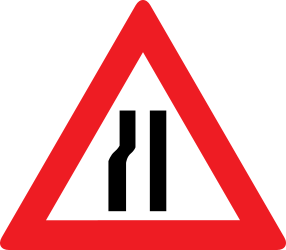 Traffic sign of Austria: Warning for a road narrowing on the left