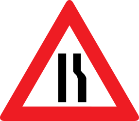 Traffic sign of Austria: Warning for a road narrowing on the right