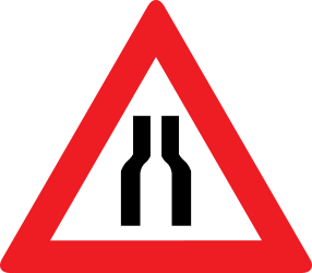 Traffic sign of Austria: Warning for a road narrowing