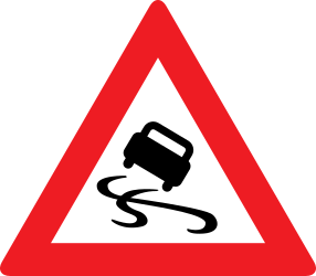 Traffic sign of Austria: Warning for a slippery road surface