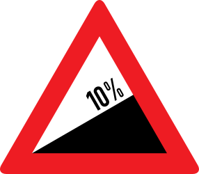 Traffic sign of Austria: Warning for a steep ascent