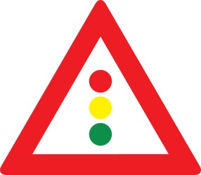 Traffic sign of Austria: Warning for a traffic light