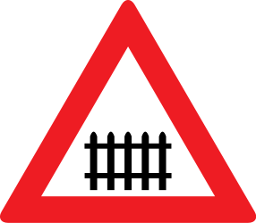 Traffic sign of Austria: Warning for a railroad crossing with barriers
