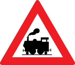 Traffic sign of Austria: Warning for a railroad crossing without barriers