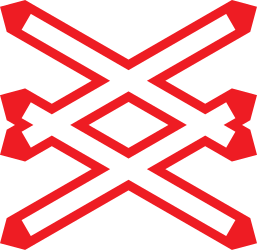 Traffic sign of Austria: Warning for a railroad crossing with more than 1 railway