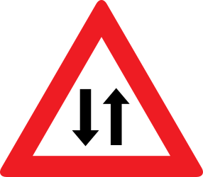 Traffic sign of Austria: Warning for a road with two-way traffic
